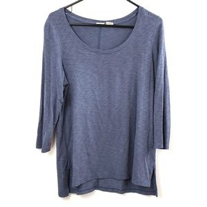 Lucy & laurel Women's Blue Knit Tunic 3/4 Sleeve